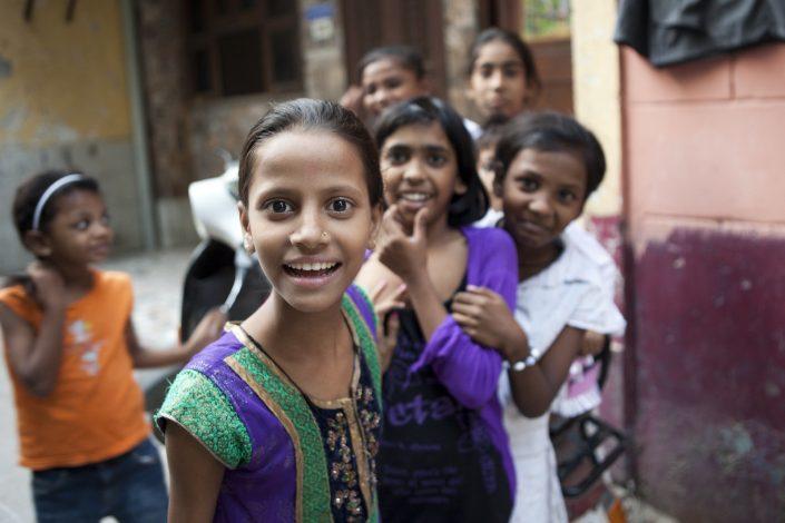 Colorful India, happy kids in New Delhi